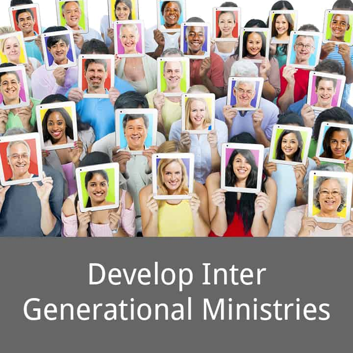 Develop Inter Generational Ministries caption with picture of a group of people of multiple generations and multiple ethnic backgrounds holding up iPads with pictures of their faces