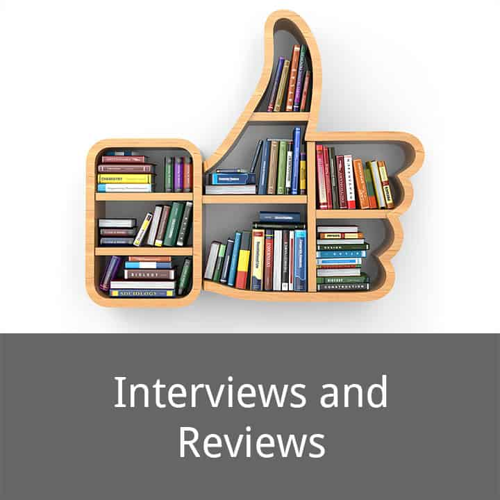Interviews and Reviews caption below a picture of a bookshelf full of books built in the shape of a social media thumbs up