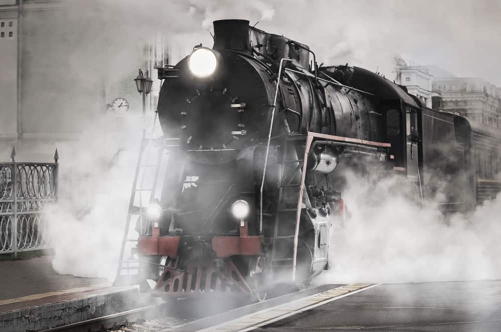 Picture of a locomotive gaining momentum